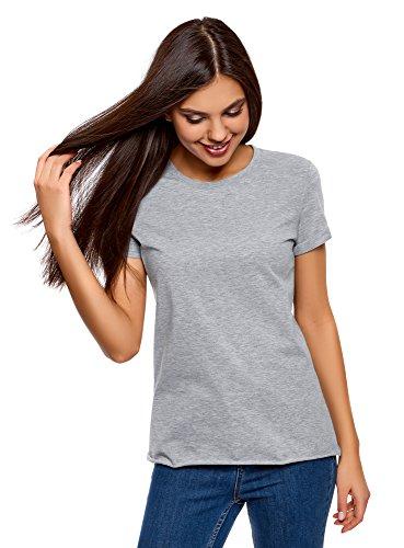 Oodji ultra donna t-shirt basic in cotone senza etichetta e con orlo grezzo, grigio, it 42 / eu 38 / s