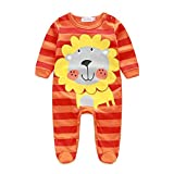 KaloryWee Newborn Infant Baby Boy Girl Striped Hooded Tops Rompers With Zipper Front + Pants Leggings + Hat Outfits Set Autumn Winter Clothes For 0-18 Months