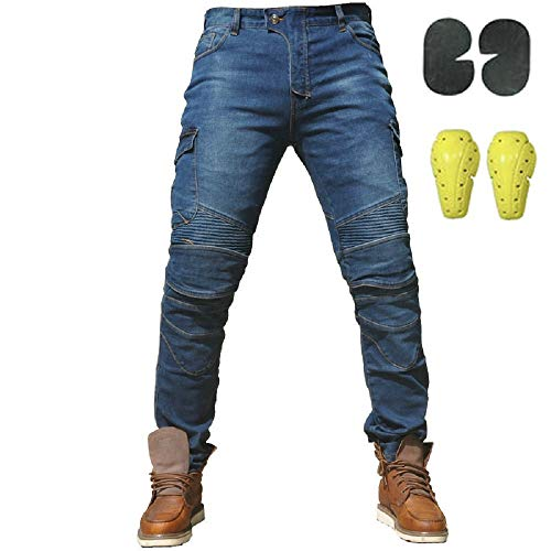 "Uomo Moto Biker Jeans Rinforzato Protezione Pantaloni Linning Includono Armature Motorcycle Pants blu (L- (Waist 34.5""))"