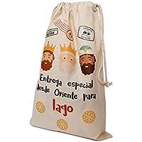 Gallaecia Studio Saco de algodón personalizado para regalos de los Reyes Magos 30x40cm