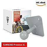 Rawbond - Supporto da Parete per portabiciciclette con Viti, Disco a U e Set di tasselli, Supporto da Parete Extra Lungo per Il Supporto Posteriore della Bicicletta, Incluso eBook