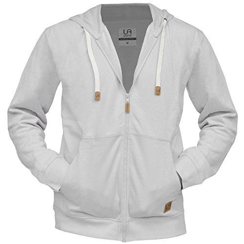urban air | Zip Hoodie, Sweatjacke, Kapuzenpullover mit Reißverschluss | Damen, Herren | Fitness und Freizeit | grau, schwarz | S, M oder L (grau, L)