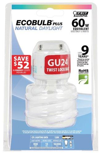 Gu24 Compact (Feit BPESL13T/GU24/D 13-watt Mini Twist Daylight GU24 Base 60-watt Equivalent Light by Feit)