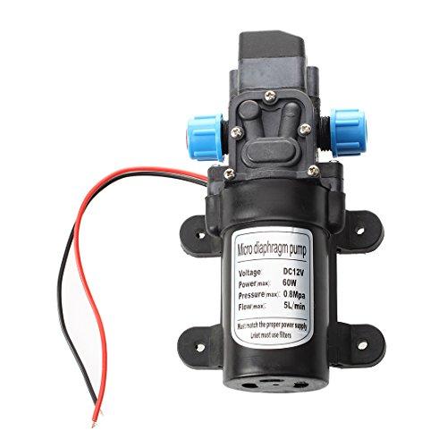 SODIAL Noir DC 12V 60W Mini Pompe a eau Pompe a diaphragme automatique Pompe de lavage electrique a haute pression eteignez 5L / min