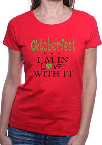 Mister Merchandise Ladies Damen Frauen T-Shirt Oktoberfest - I´m in love Tee Mädchen bedruckt Rot