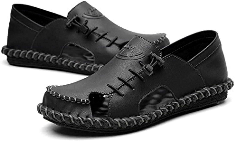 GAOLIXIA Herren Ledersandalen Sommer Hohl Breathable Business Schuhe Handgenähter Soft Bottom Freizeitschuhe Outdoor