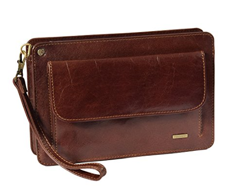 Real Leather Wrist Clutch Bag For Mens Wristlet Money Organiser Pouch MONTREAL Brown