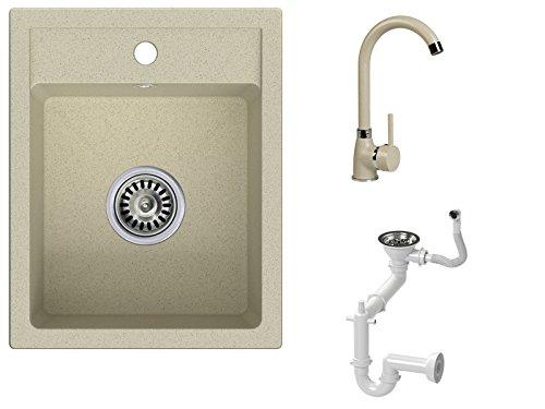 Granitspüle beige, Armatur 5000 - Hochdruck, 1-Becken, Siphon, Spülbecken, Küchenspüle, Schrankbreite ab 40 cm