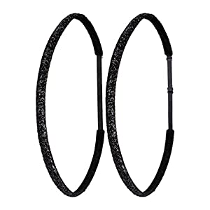 Ivybands® Mom's & Kids Edition | 2-er Pack | Black Glitter Superthin Edition | Schwarz Glitzer | Anti-Rutsch Haarband für Mutter/Mütter & Kinder/Kind | Kinderhaarband IAMKID035
