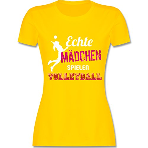 Volleyball Gelbes T-shirt (Volleyball - Echte Mädchen Spielen Volleyball - XL - Gelb - L191 - Damen Tshirt und Frauen T-Shirt)