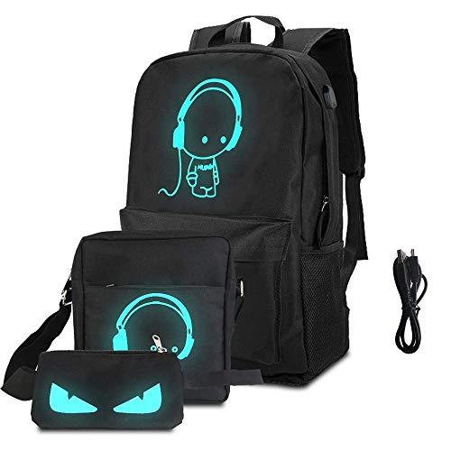 BUZIFU Set de 3 Mochila Escolara de Gran Capacidad con USB Puerto y Cable,Bolsa Bandolera,Estuche de Lapices,en Tejido Poliéster de 600D Impermeable,Bolsa Fluorescente, para Niño Chico Mujer Hombre