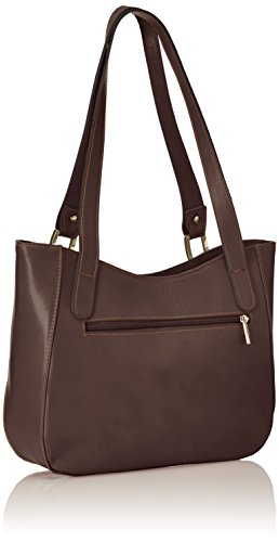 Ctm Borsa Donna Mano, Tracolla Elegante, 34x23x10cm, Vera Pelle 100% Made In Italy Brown (marrone Scuro)