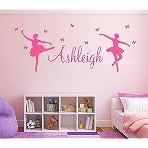 Ballerina und Schmetterlinge Mädchen Personalisierten Namen Wandkunst Wandaufkleber Aufkleber