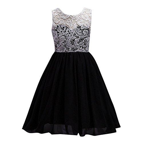 Vestiti lunghi pizzo fiore sottile vestito maxi senza maniche abito da sera nero/8-12anni /150cm