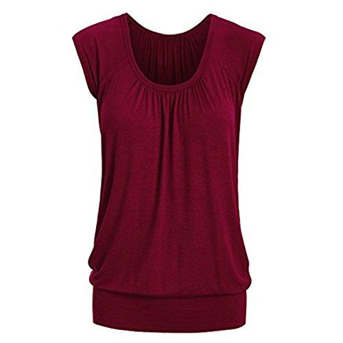 VEMOW Elegante Frauen Damen Sommer Casual Rundhals Solide Lose Beiläufige Tägliche Kurzarm T-Shirt Top Bluse Pulli Tees(Weinrot, EU-40/CN-M)