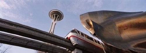 Panoramic Images - Low Angle View Of The Monorail And Space Needle Seattle Washington State USA Photo Print (91,44 x 33,02 cm) - Monorail, Space Needle
