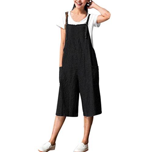 Womens Baggy Dungarees, Kingwo Ladies Belt Pants Jumpsuits Overalls Loose Leisure Trousers Bib Short Pants Wide Leg Long Pants