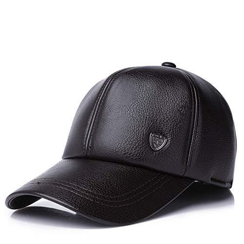 Unisex Warme Mütze Baseball-Cap mit Ohrenklappen Russland PU-Lederkappen für Männer Casquette Winter Herren Lederkappe-Kaffee