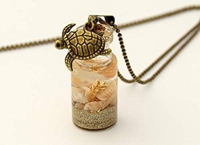 Pendentif fiole en verre plage dorée, pendentif bouteille en verre, vial, coquillage et sable