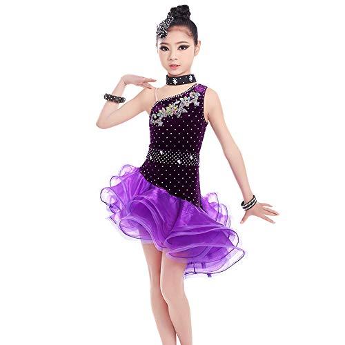 AJJDL Mädchen Franse Pailletten Kleider Tanzkleid Latein Kostüm Salsa Tango Kleid Samba Rumba Ballsaal Tanzsport Bekleidung,Purple,150cm