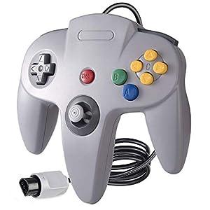 Suily N64 Game Controller Klassischer langer Griff mit verdrahtetem Gamepad Joystick für Nintendo 64 System,Grau