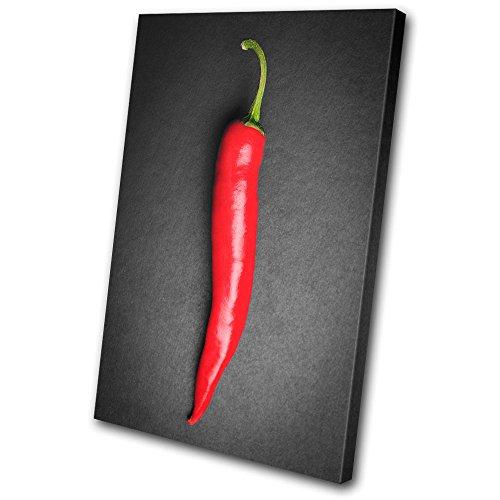 Bold Bloc Design - Food Kitchen Hot Chili Peppers - 135x90cm Leinwand Kunstdruck Box gerahmte Bild Wand hängen - handgefertigt In Großbritannien - gerahmt und bereit zum Aufhängen - Canvas Art Print (Hot Chili Peppers Dekoration)