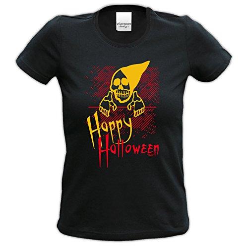 Damen-Mädchen-Halloween-Kostüm-Girlie-Fun-T-Shirt Gruselig witziges Shirt für Frauen Happy Halloween Geister Gespenster Kürbis Outfit Geschenk Idee Farbe: schwarz Gr: (Brauche Für Halloween Ein Ideen Kostüm)