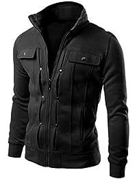 OverDose Chaqueta para hombre de la chaqueta de la rebeca de la solapa diseñada delgada de la manera sudaderas con capucha