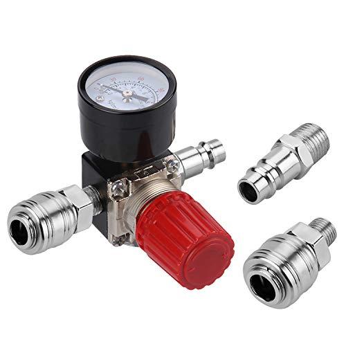 """1/4"""" Druckminderer, Preciva EU-Standard Druckregler Druckregelventil Druckschalter Regelventil Druckschaltventil mit Manometer 175 PSI für Luftverdichter, Luftkompressor - 3 Löcher"""
