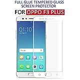 Dashmesh Shopping Oppo F3 Plus (Full Body Glue) (Edge To Edge) (White) Tempered Glass Screen Protector With Installation Kit