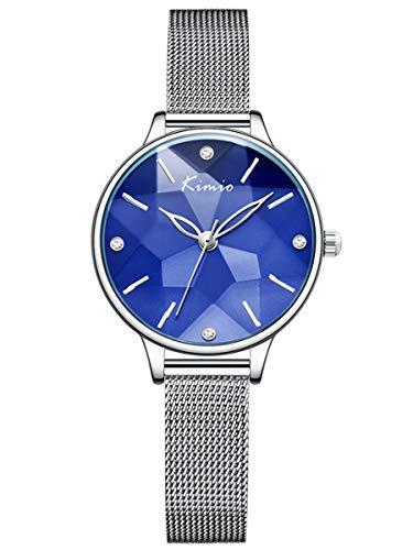 Alienwork Montre Femme Bracelet Maille milanaise Acier Inoxydable Argent Analogique Quartz Bleu Imperméable Classique élégant