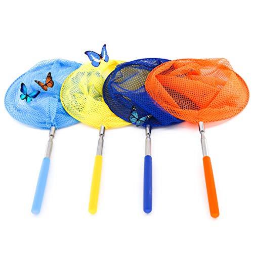 QH-Shop Schmetterlingsnetz, Kinder Ausziehbare Schmetterling Net Edelstahl Insekt Fischernetz Hinterhof Garten Natur Wissenschaft Exploration Werkzeug Spielzeug 4 Stück