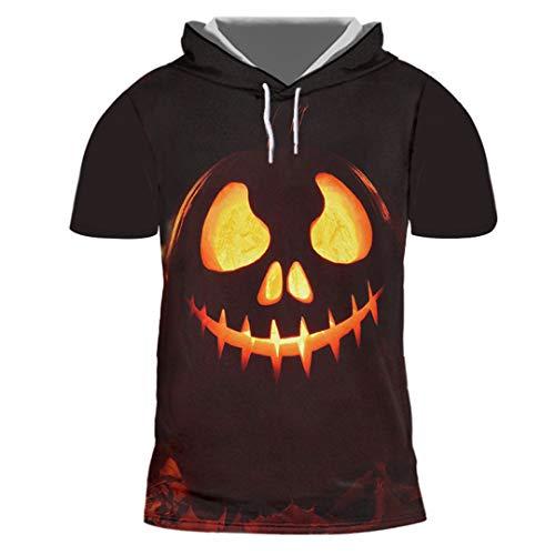 Herren 3D gedrucktes Kürbis Muster Kapuzen Freizeit Horrible Halloween T-Shirt Halloween Pumpkin 7XL