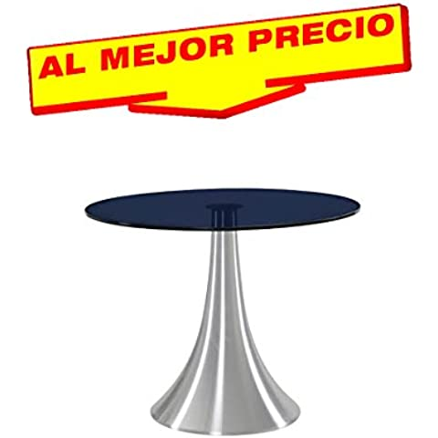MESA REDONDA DE COMEDOR MODELO GÉNOVA , ALUMINIO, CRISTAL TEMPLADO NEGRO, 120 CMS - OFERTAS HOGAR -¡AL MEJOR PRECIO!