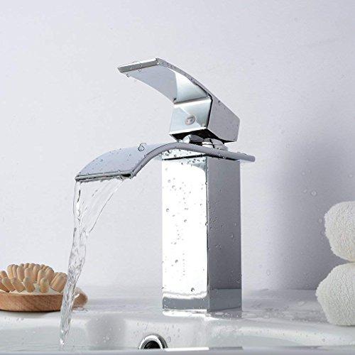 Punpink Modernes Einhebel-Waschtisch-Mischbatterie-Becken-Hahn-Badezimmer-Wasserfall-Becken-Mischbatterie mit heißem und kaltem Wasser-Rohr