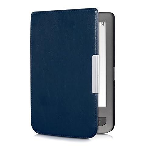 kwmobile Étui à rabat pour Pocketbook Touch Lux 3 / Touch Lux 2 / Basic Lux / Basic 3 / Basic Touch 2 - Pochette rabattable en simili-cuir en bleu foncé