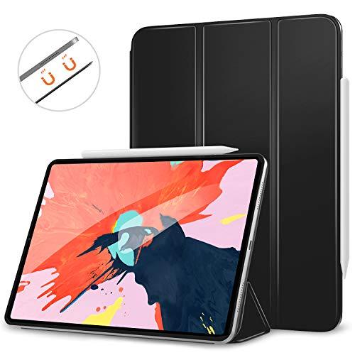 MoKo Hülle für iPad Pro 12.9 2018, Schlanke Schutzhülle mit Magnetisch Befestigung und Ladung für Stift, Auto Schlaf/Aufwach Funktion Smart Case - Schwarz