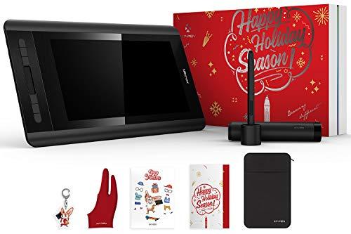 XP-PEN Artist 12 HD IPS Grafikmonitor Grafiktablett Drawing Pen Display mit Slidebar Stift mit dem Radiergummi Geschenkpaket Gift Wrap (Holiday Edition)
