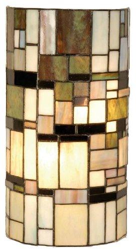 Lumilamp 5LL-9994 Wandlampe Wandleuchte im Tiffany-Stil Cylinder 20 * 11 * 36 cm 2X E14 max 40w dekoratives buntglas Tiffany Stil