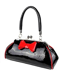2006e42c5186 Schompi Damen Retro Lack-Tasche mit Dekorativer Schleife, Schwarz Rot
