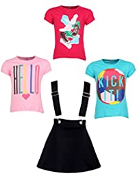 Gkidz Girls Pack of 3 Printed Cotton T-shirts with 1 Pack Stretchable Dungree Skirt (JG-GRAPHICCMB3_N_003DNGRE-BLK_Multicolor )