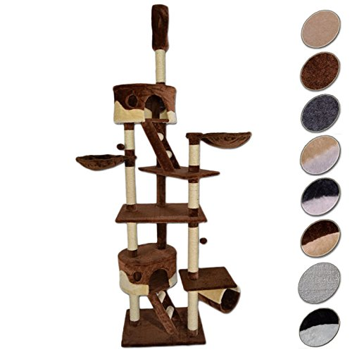 dibea Cat Tree Activity Centre High Ceiling Scratching Post, 240 to 260 cm, Brown/Beige