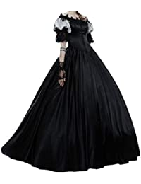 ccbd2243e8 Mujer Medievales Largo Vestido Fuera del Hombro Plisada Falda Elegante  Manga Linterna Encaje Halloween Actuación Disfraz