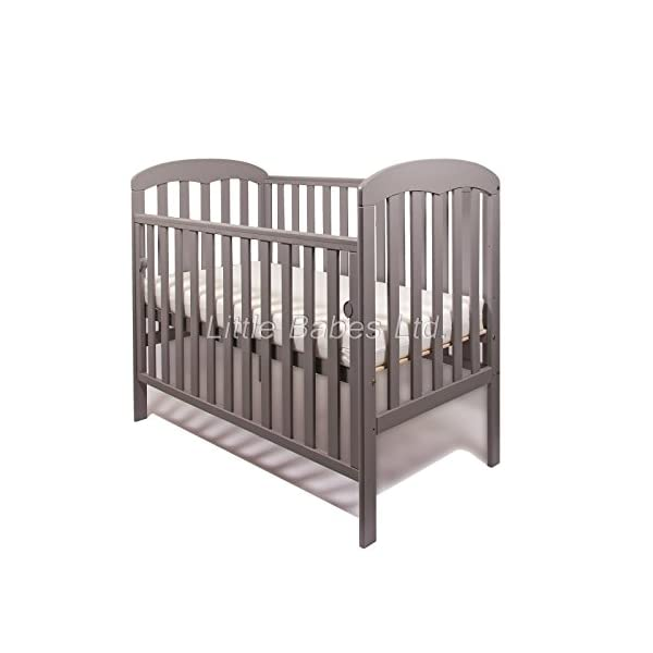New Little Babes Ltd Mia Dropside Baby Cot Only (Grey) LITTLE BABES LTD *Little Babes Ltd Mia Dropside Cot complies with all current British & European Safety Standards BS EN 716-1: & 2:2008 *Cot Features: - drop side cot - quality pine wood - drop side - 3 position mattress base - teething rails - strong base *Cot Dimensions: - H103 x W67 x L124,5cm 1