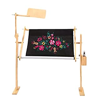 favourall Embroidery Cross Stitch Frame Stand Hoop Set Rectangle Square Adjustable Wooden Frame Needlework, for Embroidery, Quilting Hoops and Rotating Frame(30cm-45cm)