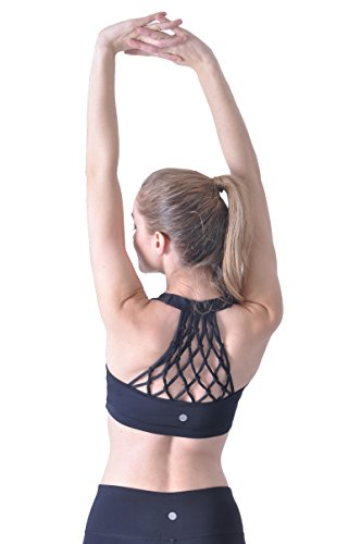 Queenie Ke Womens Yoga Sport Reggiseno Supporto medio hand-knited nido posteriore super soft touch Black Nest Medium, F