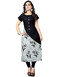 Bapa Fashion Women's Crepe Straight KurtI black