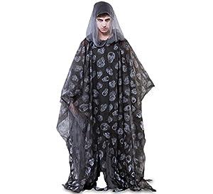 Fyasa 107404negro Zombie disfraz de Poncho, grande, 175cm