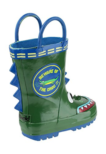 Cotswold Boys Digger Puddle Boot Grey Digger Pull On Wellington Boot Crocodile