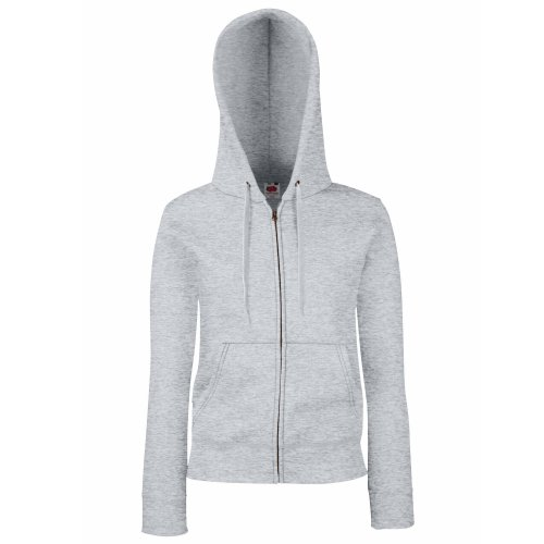 Shirt-jacke (Fruit Of The Loom Lady-Fit Damen Sweatshirt Jacke mit Kapuze (M) (Grau) M,Grau)